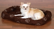 suede paw print dog bed