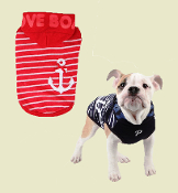 hodded striped dog tee with boat anchor