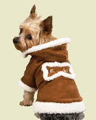 brown fleece lined suede dog jacket