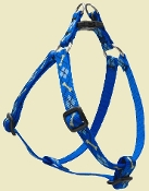 blue argyle step-in dog harness