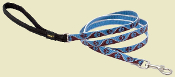 blue and brown paw pattern dog leash