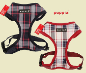 Puppia blue and beige plaid harness