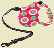 Pink Multi Colored Dot Retractable Lead