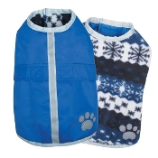 nautical blue reflective reversible dog jacket