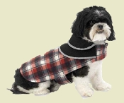 red plaid fleece dog coat