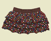 brown polka dot dog skirt