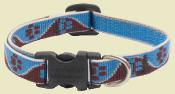 Blue and brown paw print dog collar