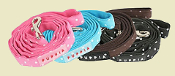 black, brown, pink, blue polka dot dog leads